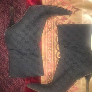 Gucci Canvas Monogram Ankle Boots